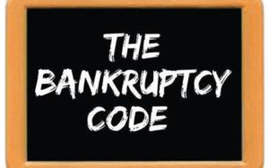 Image on a chalkboard displaying the words The Bankruptcy Code